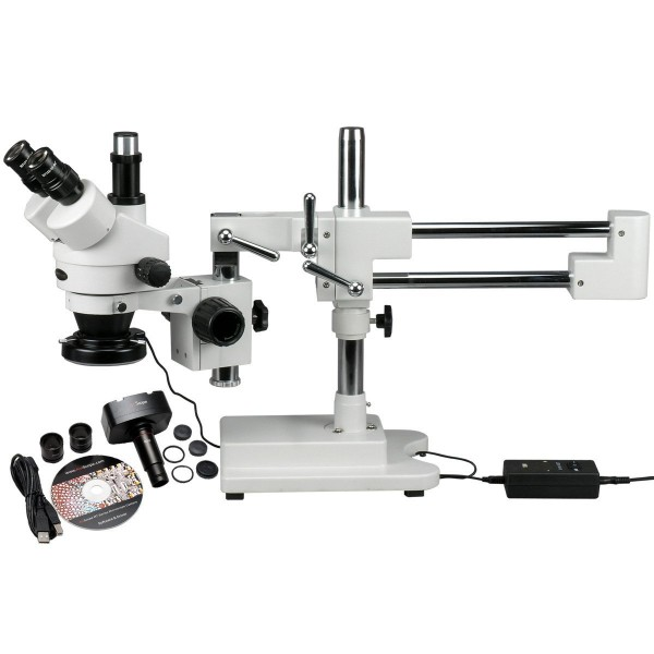 Trinocular stereo microscope including USB camera and LED light