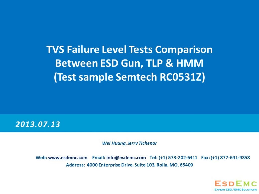 TS004 TVS Failure Level Tests Comparison Between ESD Gun, TLP & HMM